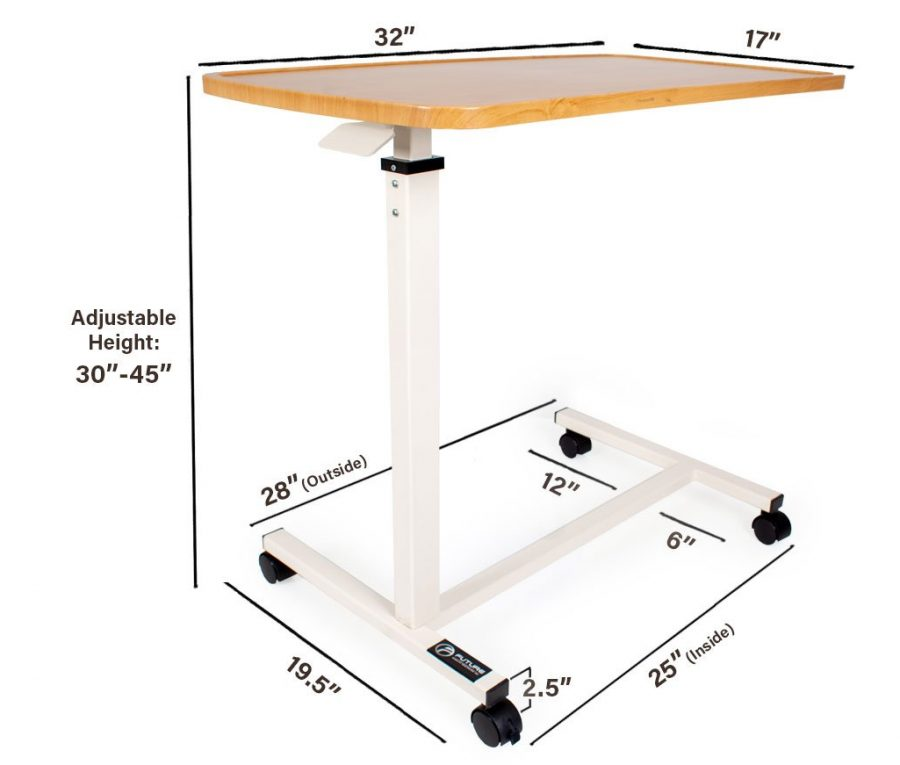 measurement overbed table