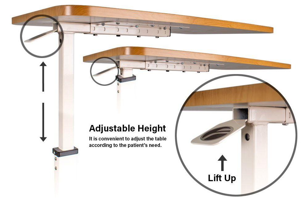 overbed table adjustable height