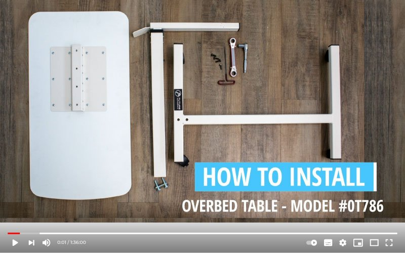 how to install hospital bed table